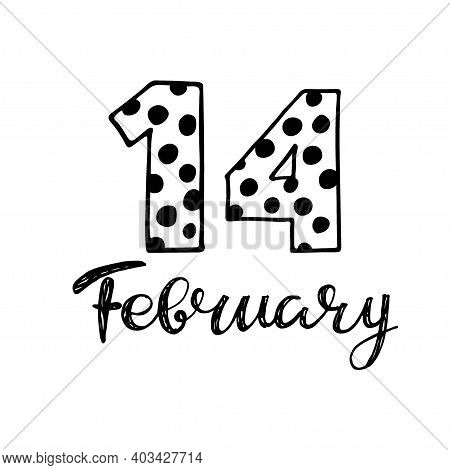 Valentine Day 14 February. Cute Number 14. Hand Drown Vector Fourteenth With Polka Dot. For Valentin