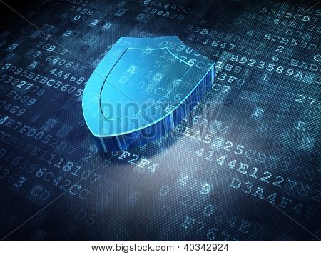 Security concept: blue shield on digital background
