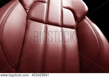 Modern Luxury Car Red Leather Interior. Part Of Red Leather Car Seat Details With Stitching. Interio
