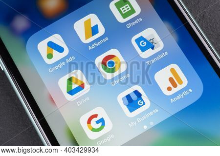 Sankt-petersburg, Russia, January 4, 2021:  Google Applications Icon On Apple Iphone 11 Smartphone S