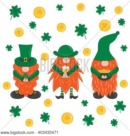 St. Patrick S Day Leprechaun. Set With 3 Cute Funny Garden Irish Gnome With Clover, Beer And Pot Wit