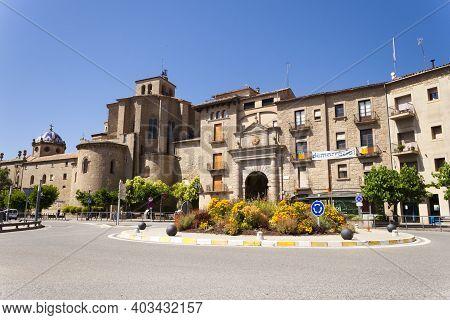 Solsona - Lleida, Spain - Jul 8, 2020: Portal Del Pont, The Bridge Gateway Is The Main Entrance To T