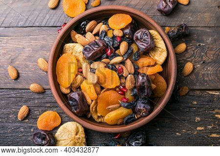 Dried Fruits And Nuts Mix In A Wooden Bowl. Assortment Of Candied Fruits. Judaic Holiday Tu Bishvat.