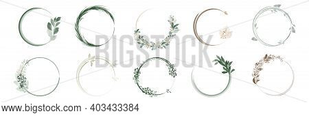 Set Of Greenery Leaf Wreaths And Bouquets Frame With Watercolor Hand Painted. Botanic Frame For Deco