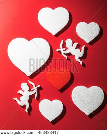 Flying Cupid Silhouette With Hearts, Happy Valentine's Day Banners, Paper Art Style. Amour On Red Pa