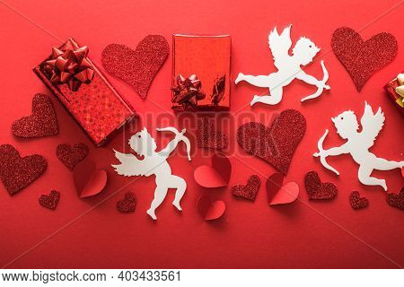 Love Concept. Valentines Art Vivid Design. Romantic Valentine  Banner