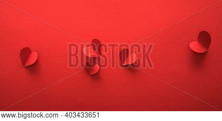 Valentine's Day Banners, Hearts Paper Art Style On Red Paper. Valentine's Day Red Background. Holida