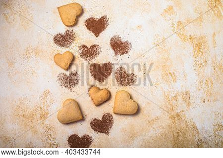 Sweet Cookies In The Form Of Hearts For Valentine's Day. Shortbread Cookies Of Two Colors In A White