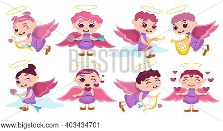 Pack Illustrated Cupid Character. Cupid Angels Characters. Flying, Sitting On Clouds, Spreading Love