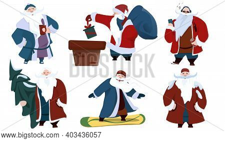 Cartoon Santa Claus Character Set. Claus Wearing Glasses Celebrating Christmas, New Year Happy Santa