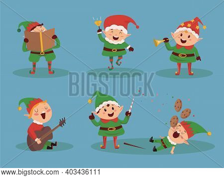 Set Of Character Christmas Boy  In Gnome's Costume. Caroling Kids Set. Children Sing Christmas Songs