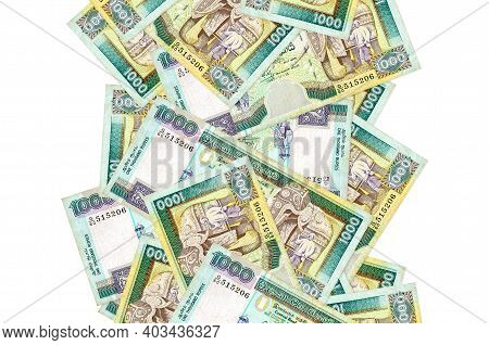 1000 Sri Lankan Rupees Bills Flying Down Isolated On White. Many Banknotes Falling With White Copy S