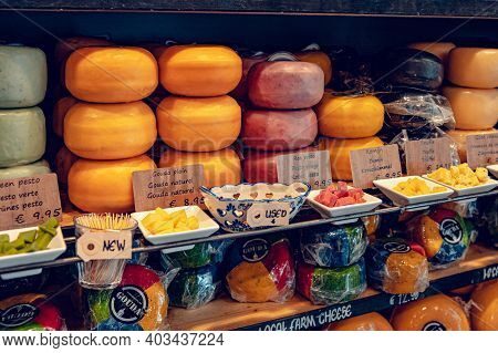 Gouda, Netherlands - July 20, 2020: Many Different Kinds Large Delicious Hunks Of Cheese On The Shel