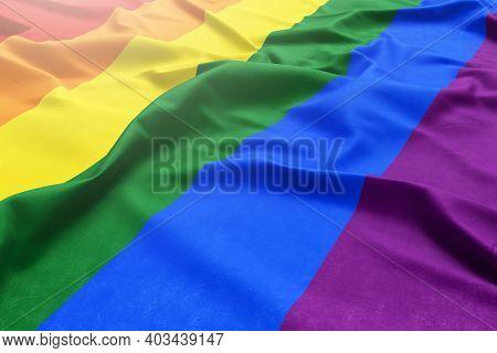 Lgbtq Community Gay Concept. Multicolored Flag. Original Color Symbol Of Gay Pride. Rainbow Flag