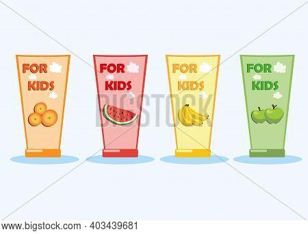 Types Of Children's Toothpaste. Toothpaste With Watermelon, Banana, Orange, Apple Flavor. Vector Fla