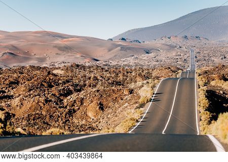 Timanfaya, Lanzarote. Volcanic Landscape, Canary Islands. High Quality Photo With Scenic Road And La