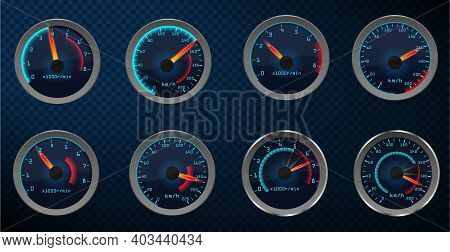 Set Of Isolated Car Or Moto, Truck Speedometer. Realistic Sensor Panel With Arrows. Vector Scale Of