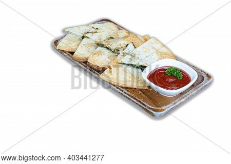 Tortillas, Spinach And Cheese Tortillas Crispy Batter Served With Tomato Sauce In A Wooden Dish On W