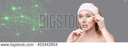 Eye Patch Procedure. Facial Treatment. Dermatology Spa. Detox Therapy. Rejuvenation Skincare Beauty.