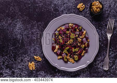 Beetroot, Pesto Sauce And Walnut Salad