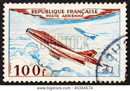 Postage stamp France 1954 Jet Plane, Mystere IV