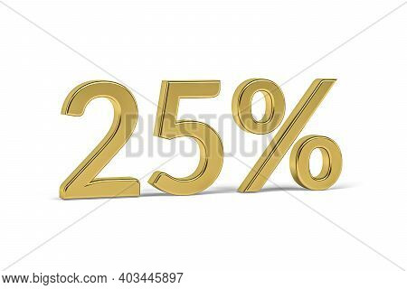 Gold Number Twenty Five With Percent Sign - 25% On White Background - 3d Render