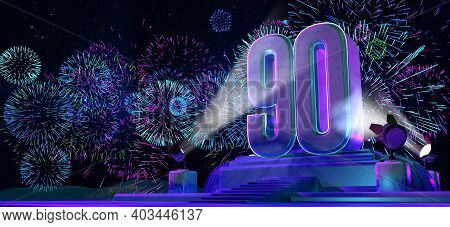 Number 90 In Solid And Thick Shape On A Purple Pedestal With The Appearance Of A Monument Illuminate