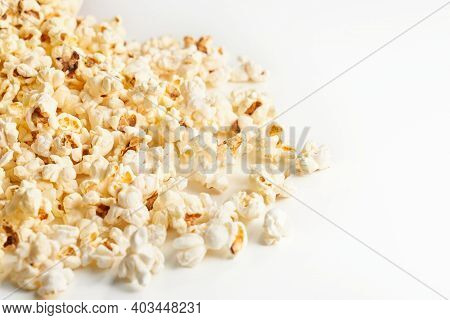 Close Up Of Heap Popcorn Isolated On White Background. Concept Of Yummy Food.