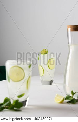 Refreshing Cold Drink With Lime And Mint