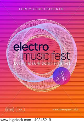 Techno Event. Minimal Concert Magazine Design. Dynamic Gradient Shape And Line. Neon Techno Event Fl