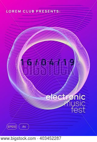 Electronic Fest. Modern Concert Magazine Concept. Dynamic Gradient Shape And Line. Neon Electronic F