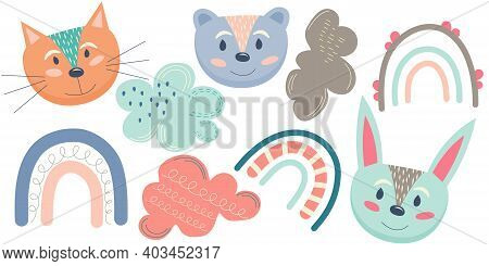 Clip Art Scandinavian Hug Style Is Isolated On White Background. Animals, Clouds And Rainbows In Ple