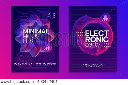 Electronic Event. Minimal Discotheque Banner Set. Dynamic Gradient Shape And Line. Neon Electronic E
