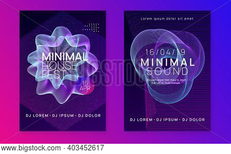 Dance Flyer. Commercial Discotheque Invitation Set. Dynamic Gradient Shape And Line. Neon Dance Flye