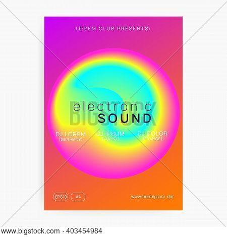 Music Flyer. Electronic Sound. Night Dance Lifestyle Holiday. Fluid Holographic Gradient Shape And L