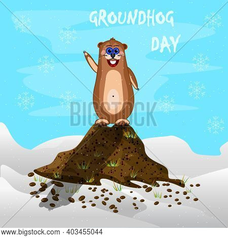 Happy Groundhog Day. Cute Marmot Character Casts Shadow. Groundhog Day Banner, Greeting Card Or Adve