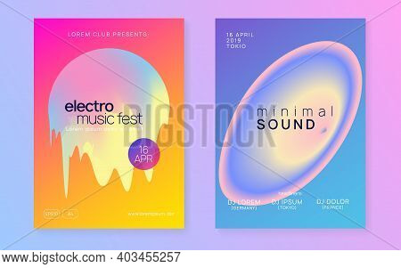 Music Fest Set. Electronic Sound. Night Dance Lifestyle Holiday. Abstract House Show Presentation La