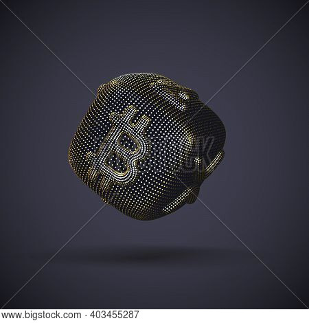 Digital Golden 3d Dice With Cryptocurrency Logos Bitcoin, Litecoin And Ripple On Gray Background. Co