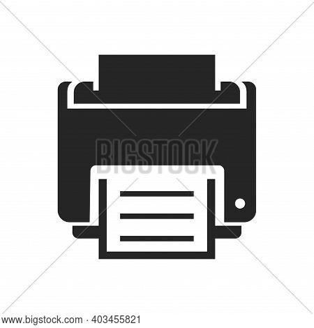 Printer Bold Black Silhouette Icon Isolated On White. Pc Peripheral Equipment Pictogram.