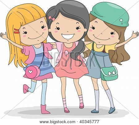 Illustration of a Group of Girls Huddled Together