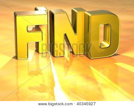 3D Word Find On Gold Background