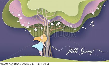 Hello Spring Card. Happy Girl Standing Near Tree With Blooming Flowers.
