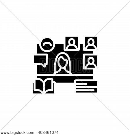 Online Book Club Glyph Icon. Meeting Together Concept. Internet Streaming Website. Social Distanced