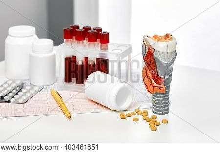Anatomical Model Of The Thyroid Gland, Blood For Analysis In Test Tubes And Pills For Endocrinologic