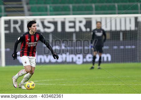 Milano, 12th January 2020. Sandro Tonali Of Ac Milan  During The Coppa Italia Match Between Ac Milan