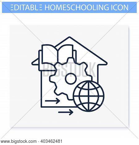 Adapt Teaching Methods Line Icon. Training Process Management. Home Education Concept. Distant Remot