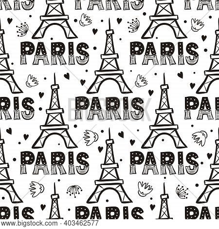 Hand Drawn Seamless Pattern With Eiffel Tower. Paris Decor, Flower And Herats. Contour Vector Illust