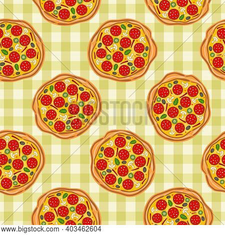 Seamless Pizza Pattern. Light Green Kitchen Checkered Background With Pizzas. Vector Illustration Fo
