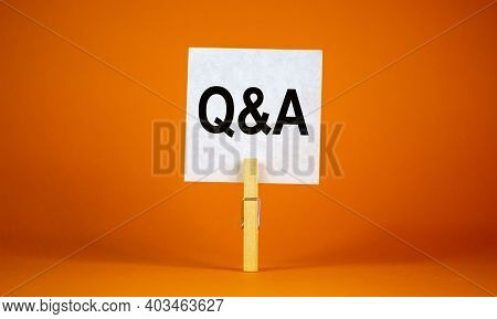 Questions And Answers Symbol. White Paper. Words 'q And A, Questions And Answers'. Beautiful Orange