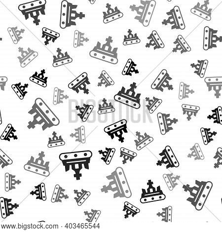 Black British Crown Icon Isolated Seamless Pattern On White Background. Vector